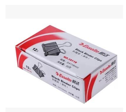 易达 10119黑色长尾夹 19mm (黑色 )  12个/盒